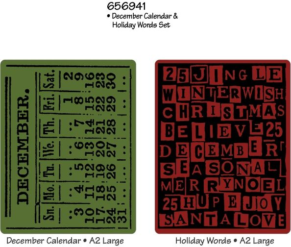 Tim Holtz Alterations Texture Fades December Calendar & Holiday Words Set Embossing Folders