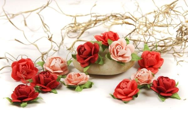 Prima Flowers Mulberry Mini Paper Coral Roses (Fairytale Collection)