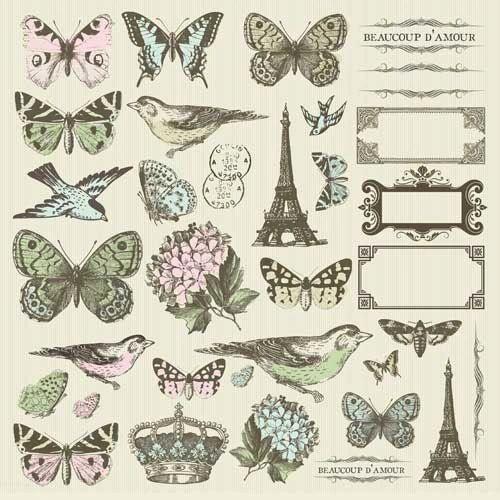 KaiserCraft Icons Sticker Sheet (Bonjour Collection)