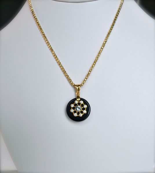 Small Black Onyx and Gold Constellation Pendant with White Cubic Z