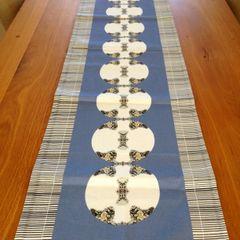 Metallic Medallion Print Table Runner--Blue