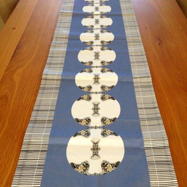Metallic Medallion Print Table Runner--Blue