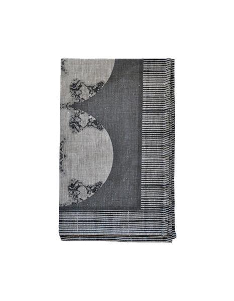 Metallic Medallion Natural Linen Tea Towel--Taupe