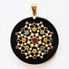 Large Black Onyx and Gold Constellation Pendant with Multi-Color Cubic Z
