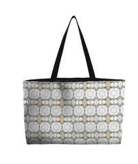 Weekend Tote Bag--Embellished Swedish Regal Wash--White Straw