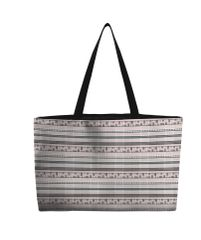 Weekend Tote Bag--Late Summer--Pink and Charcoal