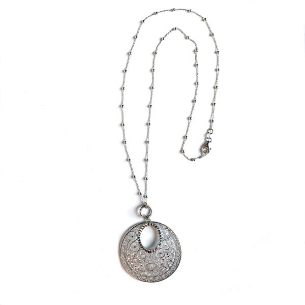 Lacey Silver Medallion Necklace