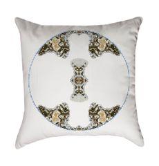 White Metallic Medallion Pillow