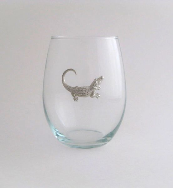 Stemless Wine Glass with Pewter Alligator