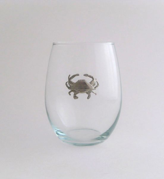 Stemless Wine Glass with Pewter Crab