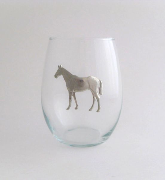Stemless Wine Glass with Pewter Horse