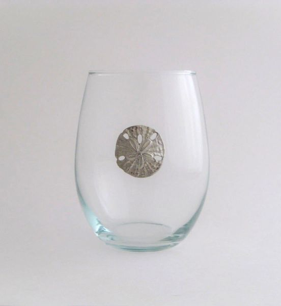 Stemless Wine Glass with Pewter Sand Dollar