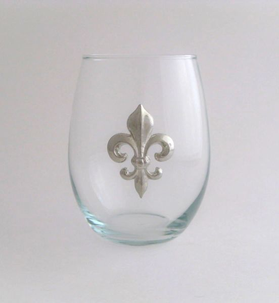 Stemless Wine Glass with a Pewter Fleur de Lis