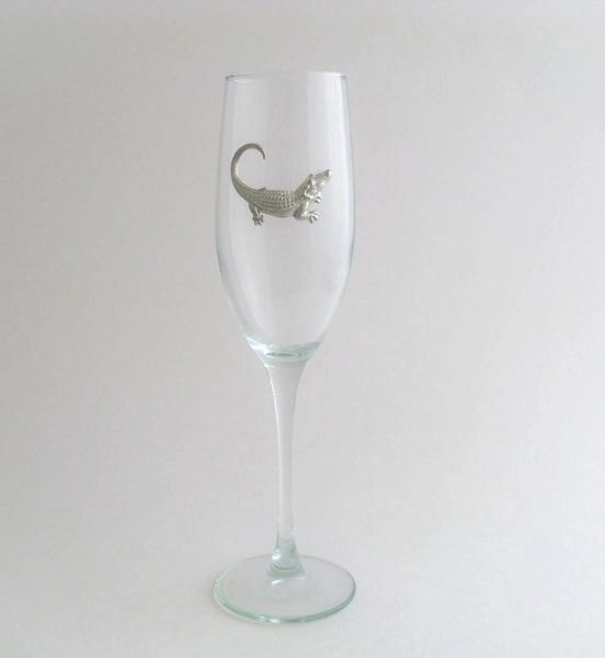 Flute Glass with Pewter Alligator