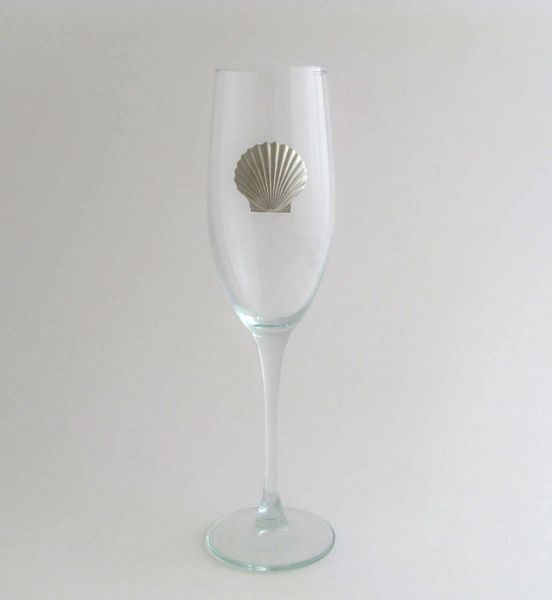Flute Glass with Pewter Clam
