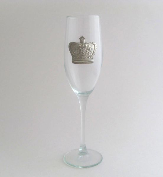 Flute Glass with a Pewter Crown