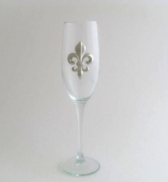 Flute Glass with a Pewter Fleur de Lis