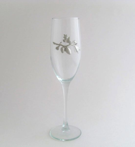 Flute Glass with Pewter Pinecone Branch