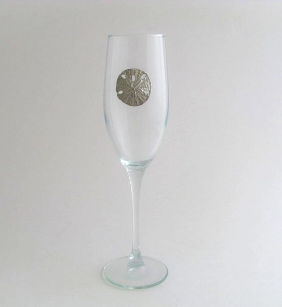 Flute Glass with Pewter Sand Dollar