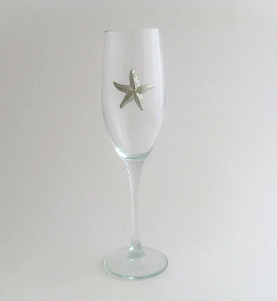 Flute Glass with Pewter Starfish