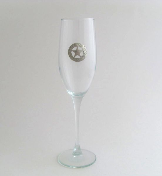 Flute Glass with Pewter Texas Star