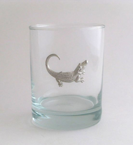 Rocks Glass with Pewter Alligator