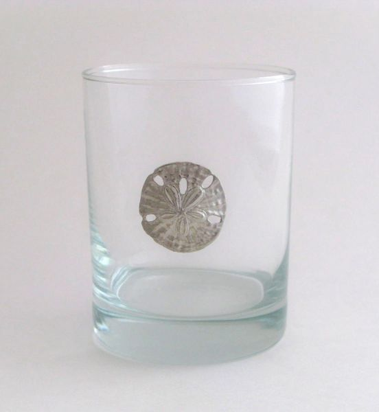 Rocks Glass with Pewter Sand Dollar