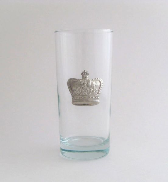 Beverage Glass with Pewter Crown (Set of 4)