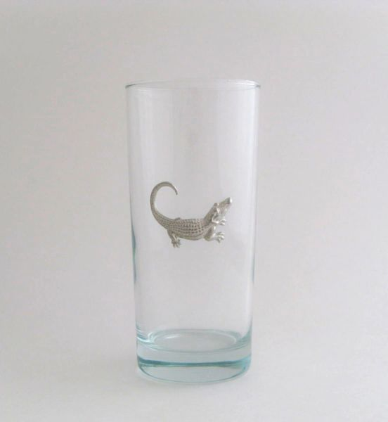 Beverage Glass with Pewter Alligator (Set of 4)