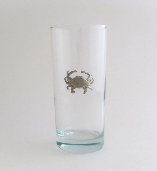 Beverage Glass with Pewter Crab (Set of 4)
