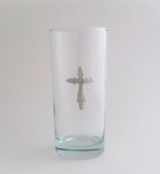 Beverage Glass with Pewter Cross (Set of 4)