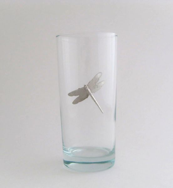 Beverage Glass with Pewter Dragonfly (Set of 4)