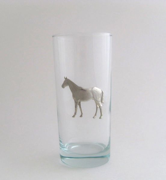 Beverage Glass with Pewter Horse (Set of 4)
