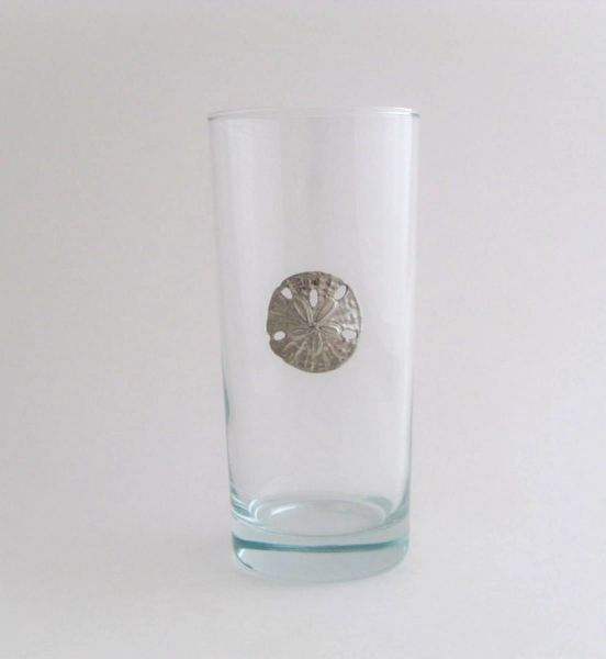 Beverage Glass with Pewter Sand Dollar (Set of 4)