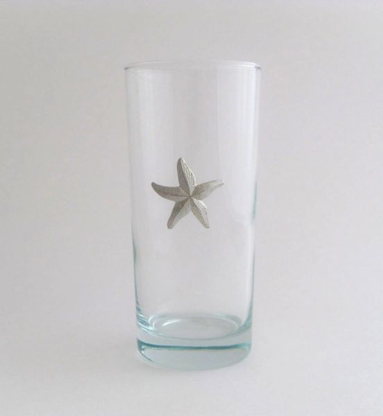 Beverage Glass with Pewter Starfish (Set of 4)