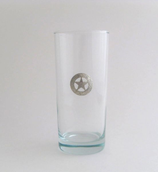 Beverage Glass with Pewter Texas Star (Set of 4)