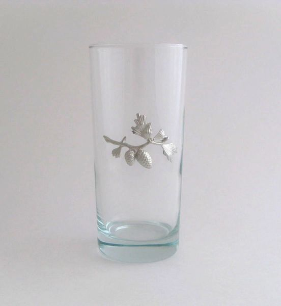 Beverage Glass with Pinecone Branch (Set of 4)