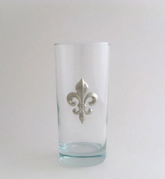 Beverage Glass with a Pewter Fleur de Lis (Set of 4)