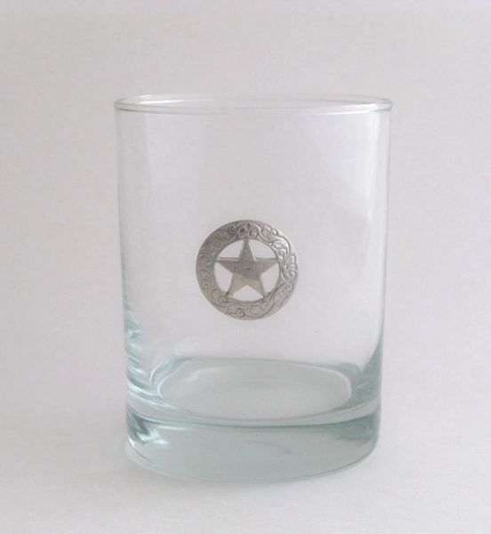 Rocks Glass with Pewter Texas Star