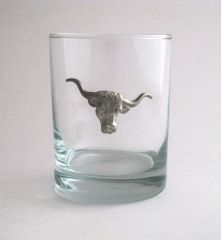 Rocks Glass with Pewter Steer