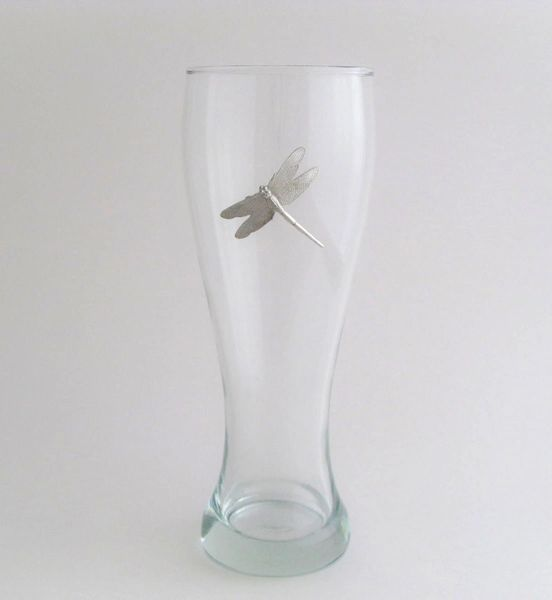 Pilsner Glass with Peweter Dragonfly