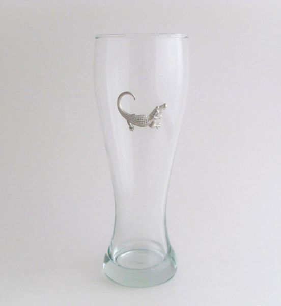 Pilsner Glass with Pewter Alligator