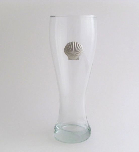Pilsner Glass with Pewter Clam