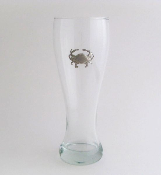 Pilsner Glass with Pewter Crab
