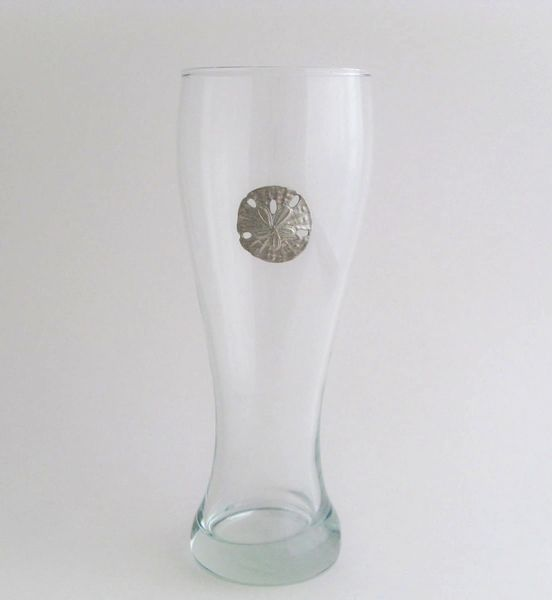 Pilsner Glass with Pewter Sand Dollar