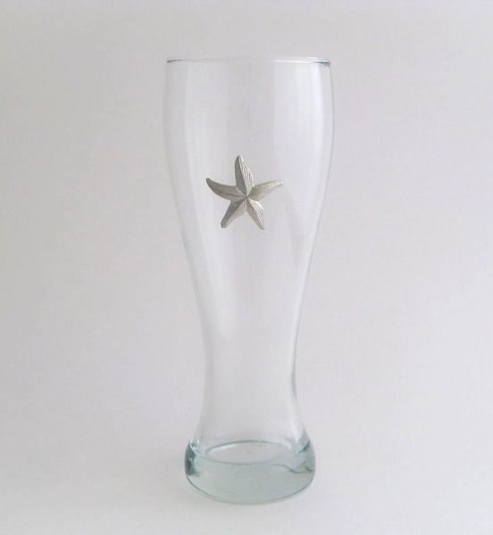 Pilsner Glass with Pewter Starfish