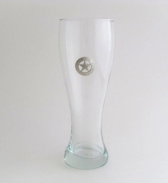 Pilsner Glass with Pewter Texas Star