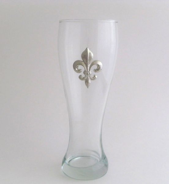 Pilsner Glass with a Pewter Fleur de Lis
