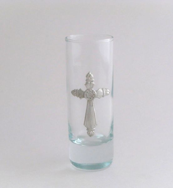 Shot/Cordial Glass with Pewter Cross