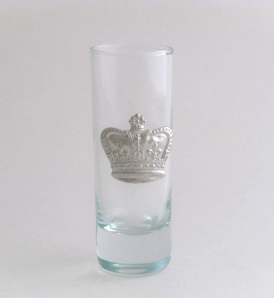 Shot/Cordial Glass with a Pewter Crown